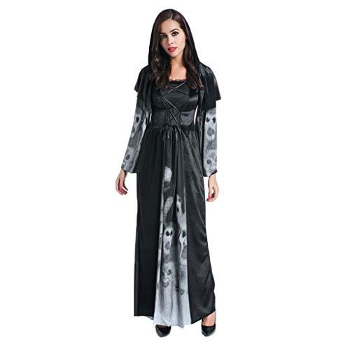 1-1 Erwachsene Frau Halloween Schwarz Horror-Schädel Zombie Hexe Vampir Dämon Kleid Abendkleid (Dunkle Hexe Übergröße Kostüm)