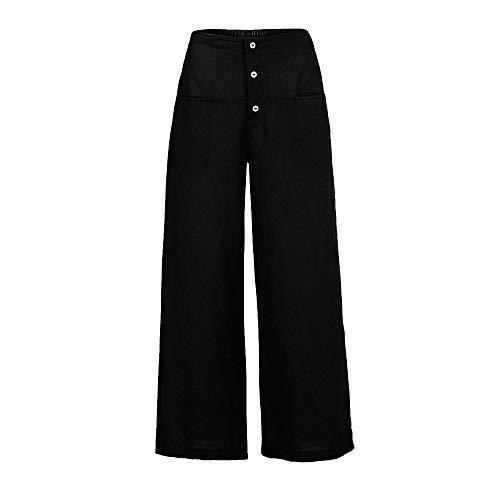 YWLINK Frau Palazzo Hose Damen Einfarbig Literarisch Hohe Taille Wide Leg Culottes Baumwolle Leinenhose Lose Hosen(L,Schwarz)
