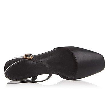 LvYuan Damen-Sandalen-Büro Kleid Lässig-Leder-Blockabsatz-Andere-Schwarz Weiß Black