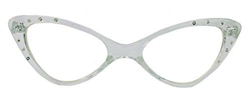50er Jahre Fashion Brille Cat Eye Modell Klarglas Nerdbrille Glitzersteine WLM (Transparent)