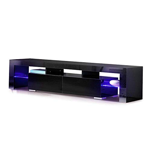 mecor TV Schrank Fernsehtisch Fernsehschrank TV Lowboard Tisch TV Möbel mit 2 Schubladen Hochglanz inkl. LED Beleuchtung in Schwarz (Tv-tische)