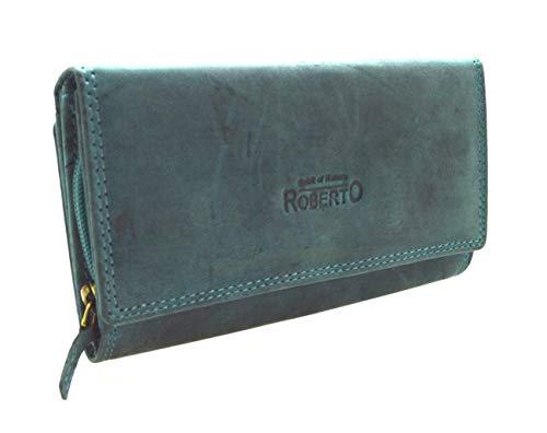 RFID Portemonnaie Damen Wild Leder Geldbeutel mit 22 Kartenfächern in 7 Farben grün blau (Grün)