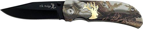 Elk Ridge Taschenmesser Hunter Camo Griff mit schwarzer Klinge, Länge geschlossencm: 8,89, ELKR-1056 - Camo Taschenmesser