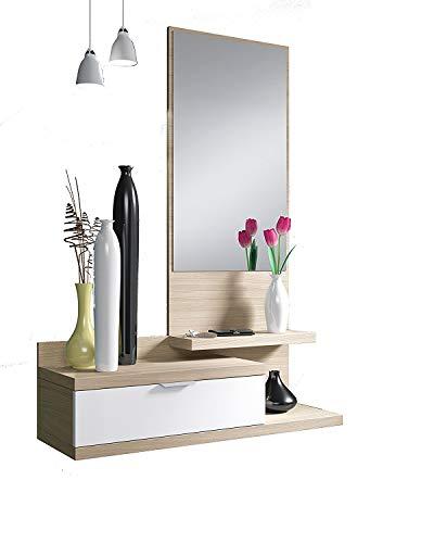 Habitdesign 016744W - Recibidor con un cajón y espejo, mueble entrada color Blanco Brillo y Nature modelo Dahlia, medidas: 116 x 81 x 29 cm de fondo