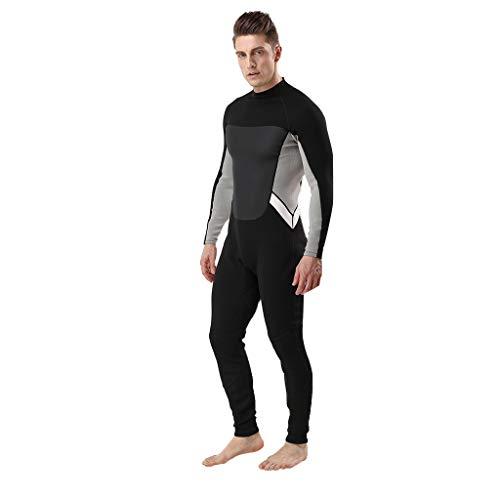LOPILY Herren 3MM Ganzkörperanzug Wetsuit Neoprenanzug Schwimmen Surfen Tauchen Sport Badeanzug Schnorchelanzug Surfbekleidung Schnelltrocknend Taucheranzug(X1-Grau,S)