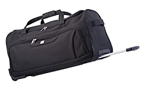 82 Litre Duffel Bag Wheely Travel Bag by Bon Goût, with Wheels and Telescopic Metal Frame and Pull Handle. Padded Velcro Main Carry Strap, Front Pocket Fully Lined Inside. Lightweight just 2.5g
