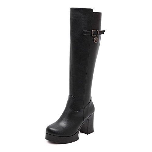 AllhqFashion Damen Weiches Material Ziehen auf Rund Zehe Hoher Absatz Hoch-Spitze Stiefel, Schwarz, 37