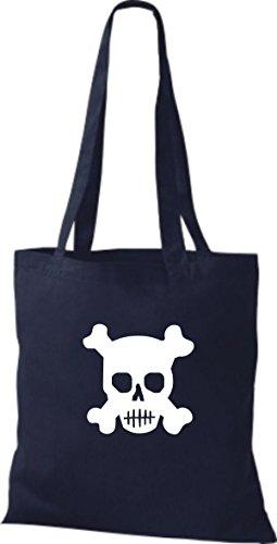 ShirtInStyle Stoffbeutel Skull Totenkopf Schädel diverse Farbe French Navy
