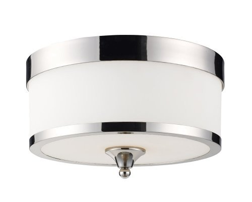 Z-Lite 307F-CH Cosmopolitan Three Light Flush Mount, Metal Frame, Chrome Finish and White Shade of Glass Material by Z-Lite
