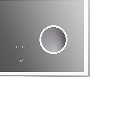 120cm breit LED Badspiegel Wandspiegel mit LED-Beleuchtung, Uhranzeige, Schminkspiegel und innovativem Touch-Schalter freuchtraum geeignet 6400K Kaltweiss