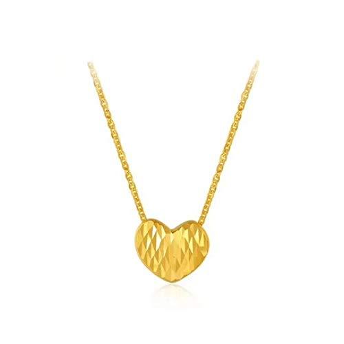 Penao 18 Karat Gold Schlüsselbeinkette 3D Gold, Damenmode herzförmige Halskette Halsschmuck