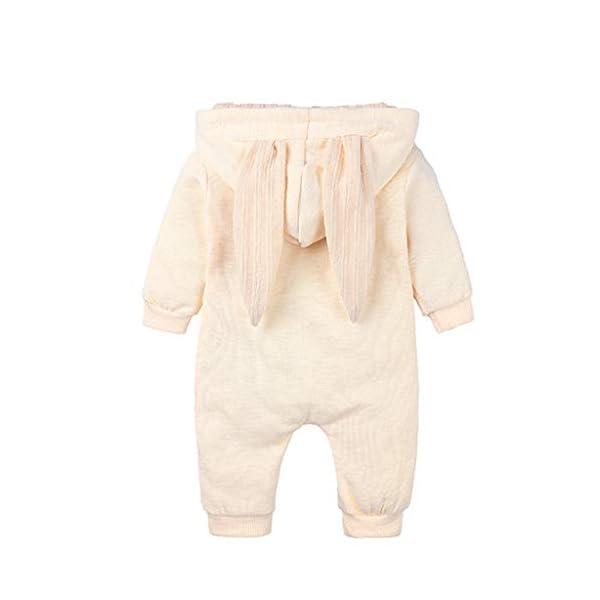 Mameluco Bebe Niño Mono Bebe Invierno Encapuchado Color Solido Oreja de Conejo Ropa Bebe Niña Recien Nacido 5