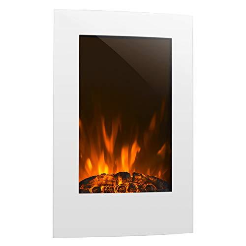 Klarstein Lausanne Vertical - Elektro-Kamin, elektrischer Kamin, E-Kamin, Heizfunktion, 1000 oder 2000 Watt Heizleistung, Glas, Flammen-Effekt, Wandinstallation, inkl. Fernbedienung, weiß