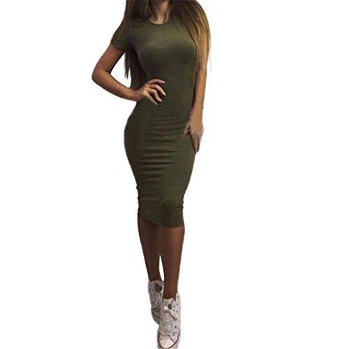 Casualkleider,Honestyi Frauen Solid Kurzarm Dünnes Kleid Mermaid Bleistift-Kleid Casualkleider Elegant Partykleider (S, Grün)