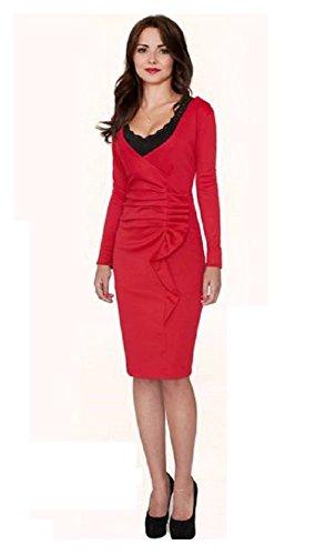 Mela Proibita - Vestito lungo sexy donna drappeggio aderente elegante sera cerimonia scollo V Rosso