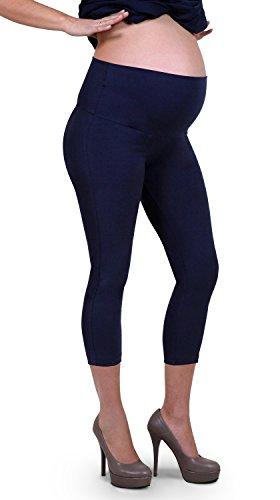Leggings donna premaman, lunghezza 3/4, cotone elasticizzato - made in italy (blue 44 it)