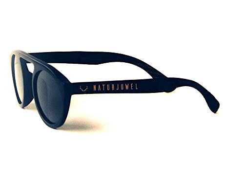 Naturjuwel retro Holz Sonnenbrille Herren Damen schwarz Holzbrille im zeitlosen Design Brille für Herren