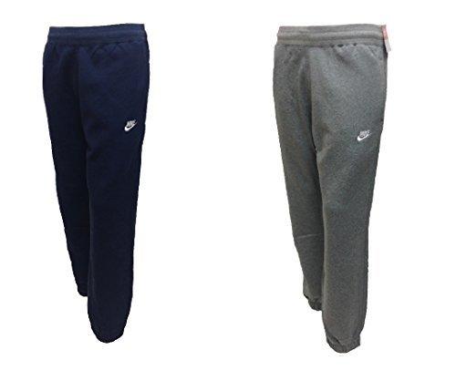 Nike724302 -pantaloni da jogging aderenti in pile, da uomo, abbinabili a tute sportive, misure da s a xl, colore: blu oltremare e grigio navy blue medium