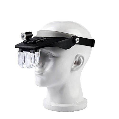 Yalztc-zyq16 Stirnbandlupe mit 2 LED-Leuchten und 5 abnehmbaren Gläsern 1X, 1,5X, 2X, 2,5X, 3,5X - von Hand getragene, beleuchtete Lupen für Arbeiten in der Nähe, Schmuckarbeiten, Kunsthandwerk