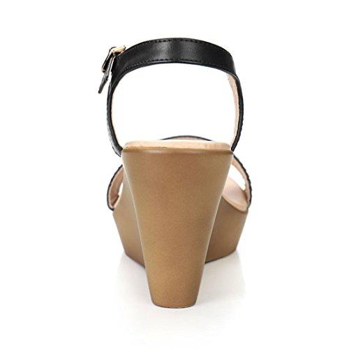 Allegra K Damen Strasssteine Verziert Keilabsatz Sandalen Schwarz