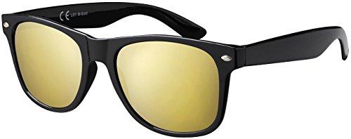 Original La Optica UV400 Unisex Sonnenbrille Wayfarer - Farben, Einzel-/Doppelpacks, Verspiegelt (Einzelpack Glänzend Schwarz (Gläser: Gold verspiegelt))