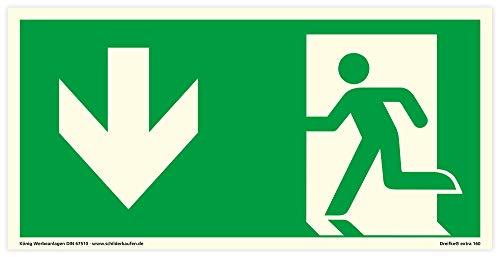 Schild Notausgang Links abwärts | extra langnachleuchtend | PVC selbstklebend 297x148mm | gemäß ASR A1.3 DIN 7010 DIN 67510 (Fluchtwegschild Rettungsweg) Dreifke® extra 160