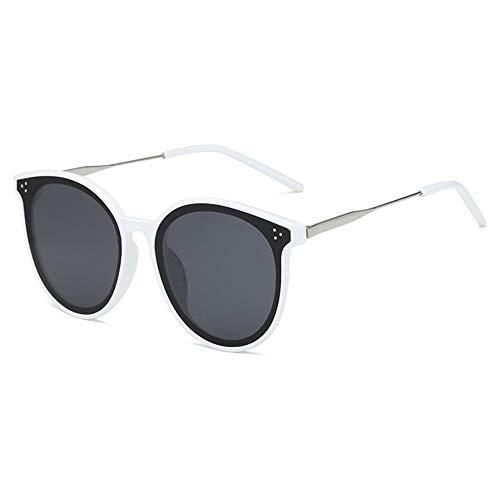 SSXD Sonnenbrillen Sonnenbrille weiblicher Katzenaugen-Sonnenbrillen-Sonnenschirm der Retro- Metallrahmen-Glasmänner, weiß
