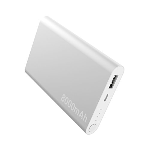 OrimeCharger Powerbank 8000mAh Caricatore Portatile - 1 Porte usb Power Bank 5v/2A Batteria Esterna per IPhone 6 7 7plus 8 Samsung s7 s6 s5 edge HTC Huawei Android Tablets Smartphone Alluminio Argento (Volt Bank 5 Power)