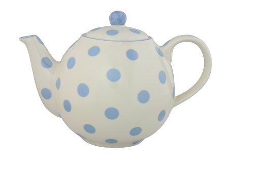 Dexam 17284200 London Pottery - Tetera con diseño de lunares (4 tazas), color crema y azul