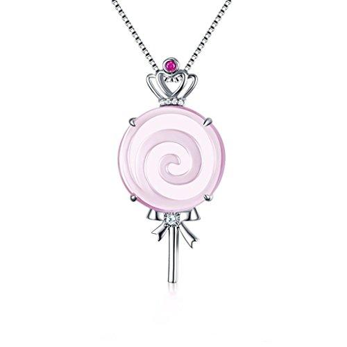 CKH Süße Halskette Weiblichen natürlichen Pulver Kristall Lollipop 925 Sterling Silber Anhänger Furong Edelstein Niedliche Prinzessin Schmuck