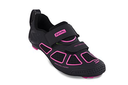 Spiuk Trivium Triathlon Shoe, Unisex Adult, Black / Fuchsia / Black, 38