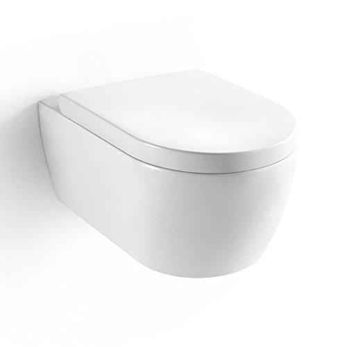 Preisvergleich Produktbild Soho 2.0 Hänge Wand WC mit geschlossenem Unterspülrand - Tiefspüler - Brillant Weiss mit Duroplast WC-Sitz und Nano Beschichtung