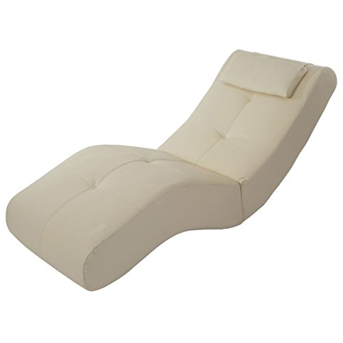 Chaise longue fauteuil lounge Livorno II, similicuir ~ cr?me