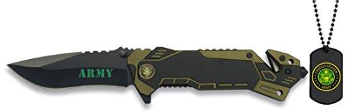 Albainox 19436 - Navaja Army para Unisex Adulto, Mango de Aluminio, Hoja de Acero Inox de 8.1 cm, Incluye Chapa Identificación, Multicolor, Única