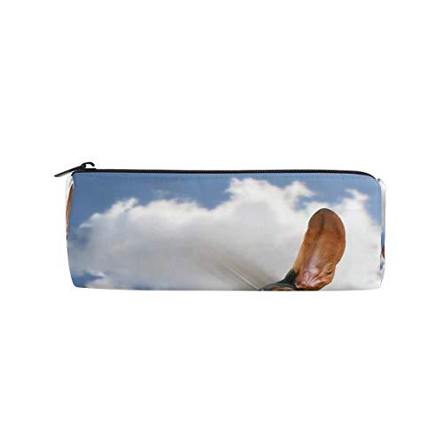 Ahomy Federmäppchen Basset Hound fliegen durch Luft Sky Reißverschluss, Bleistifttasche für Teenager Mädchen und Jungen, Reise-Make-up-Tasche für Frauen -