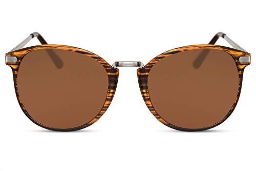 Cheapass Sonnenbrille Rund Braun Schwarz Glänzend Tiger-Print UV-400 Vintage Designer-Brille Metall Unisex