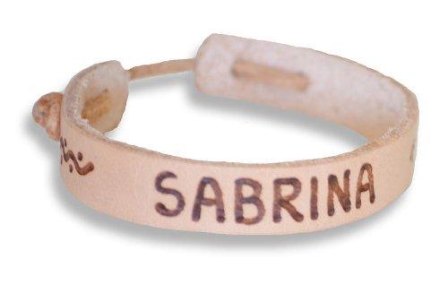 Echtes Lederarmband, Namensband, Länge: 15 - 22 cm (grössenverstellbar), für Kinder und Erwachsene