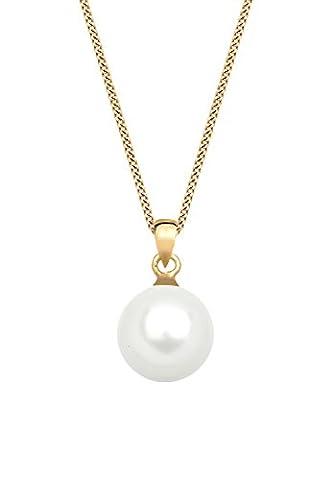 Elli Premium Damen-Kette mit Anhänger Perlenkette 585 Gelbgold 925 Silber