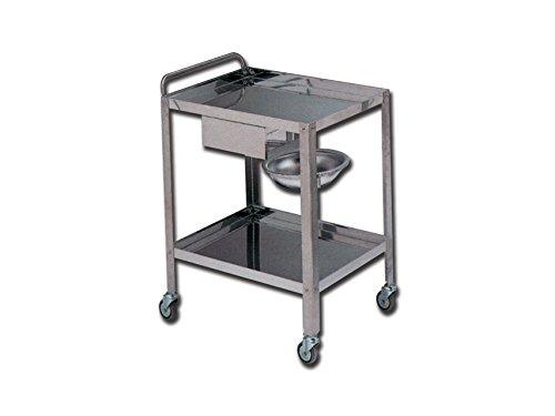 Chariot Instruments Acier Inoxydable Médicaments Sur Roues 2 Tablettes 70X50X85H