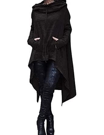 Alician Women Simple Solid Color Hooded Sweatshirt Irregular Hem Loose Long Hoody Pullover