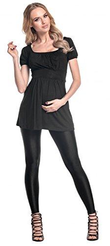 Happy Mama. Damen Umstands-Top Empire-Taille. Schwangerschafts Shirt. 408p Schwarz