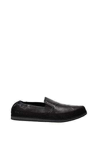 4D2363NERO1 Prada Pantoufle Homme Cuir Noir Noir