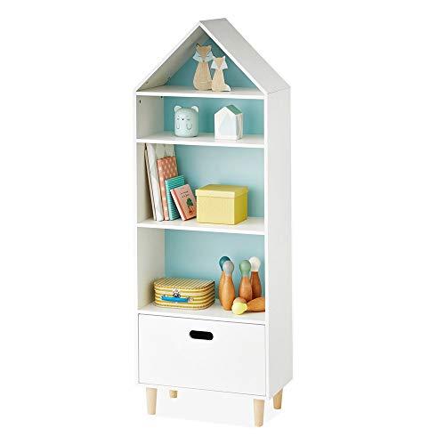 Cotangle Haus Form DIY Draht Bücherregal, Multi-Use-Modulare Aufbewahrungsregale Mit Schublade 5 Tier Open Organizer Bücher und Spielzeug (Farbe : Blau, Größe : 38x16x113cm) -