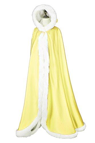 Umhang Damen Mit Kapuze Cape Hochzeit Braut Winter Mit Pelzbesatz in Voller Länge Mehrere Farben FREIER HAND MUFF von BEAUTELICATE Gelb