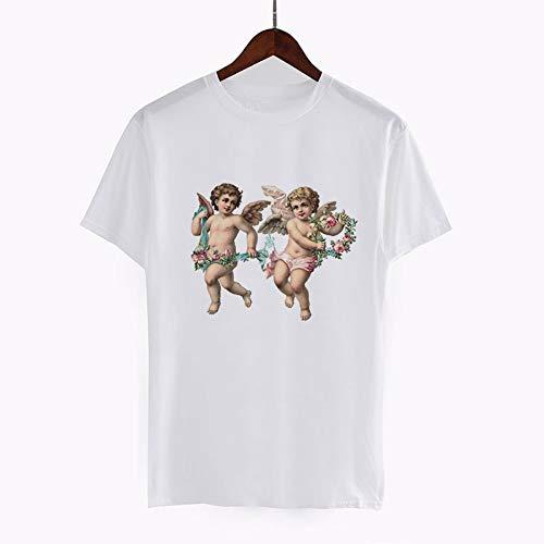 XIAOBAOZITXU Sommer Weiß Vintage T-Shirt Engel Druck Beiläufige Liebhaber Engel Top Shirt Kurzarm Lose T-Shirt L -