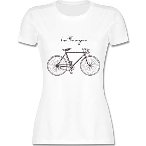 Radsport - I am The Engine - S - Weiß - L191 - Damen T-Shirt Rundhals