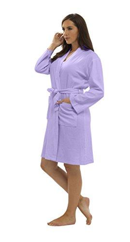 Baumwolle Satin Robe (CityComfort Damen Bademantel aus Reiner Baumwolle Damen Waffel Kimono (L, lila))