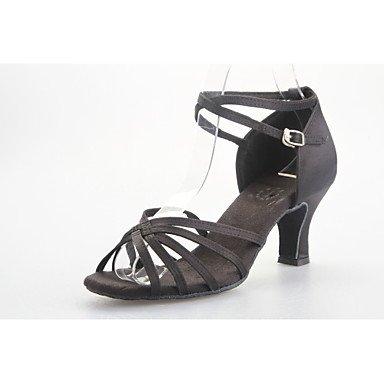 Silence @ pour femme Chaussures de danse latine/salle de bal en satin évasé au niveau du talon Noir/bleu/fuchsia noir