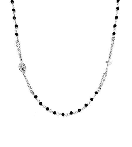 Rosario collana girocollo in argento 925 rodiato con perline nere - croce e medaglietta madonna - linea italia gioielli made in italy
