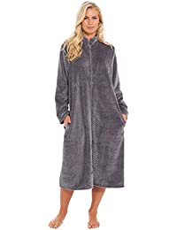 a5c03f9c8a Slumber Hut Ladies Womens Fleece Dressing Gown Luxury Flannel Embossed  Zipped Traditional Collar Grey Teal Blue